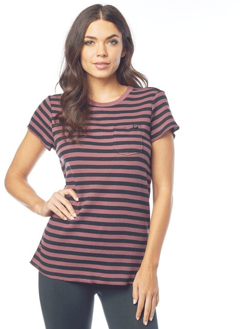 Fox Striped Out SS Crew Women rose